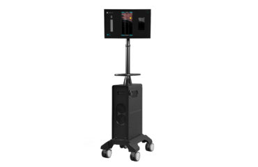 The SonoVision electronics platform displays an axial psoas muscle image with intuitive color differentiation of nerve, muscle and bone.